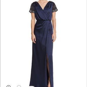 Beautiful dark blue satin gown